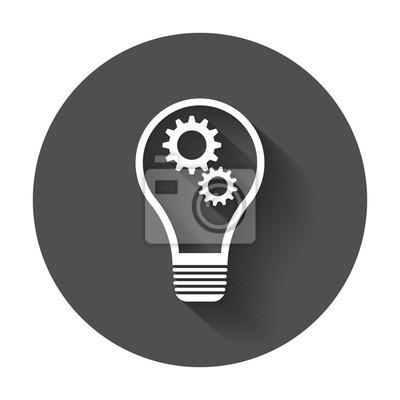 Bild Idee icon vektor flach. Glühbirne Icon Vektor mit langen Schatten.