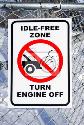 Idle-Free-Zone, den Motor ausschalten Zeichen auf einem Zaun