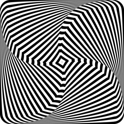 Illusion of rotation movement. Lines texture. Abstract op art design.