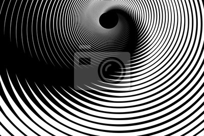 Illusion of spiral swirl movement. Abstract op art design.