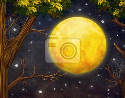 Illustration der Bäume und Vollmond mit Sternen am Nachthimmel