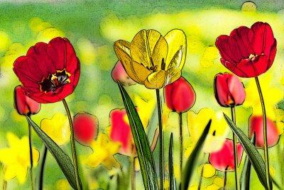 Bild Illustration der Bett von Tulpen