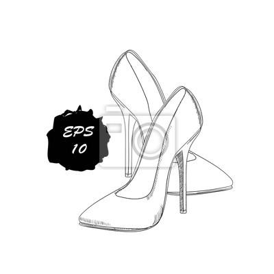 Illustration Der Hand Gezeichneten Grafik Frauen Schuhe Schuhe