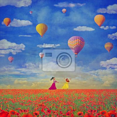 Illustration der kleinen Mädchen mit bunten Heißluftballons gegen den Himmel mit Wolken auf rotem Mohnfeld