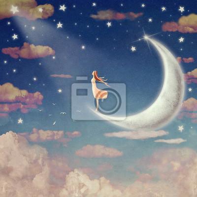 Illustration der Nachthimmel mit Wolken, Mond und Sterne, Hintergrund Kunst