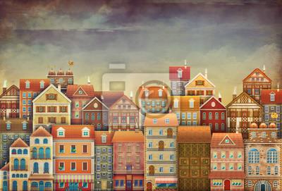 Illustration der niedlichen Häusern im Himmel