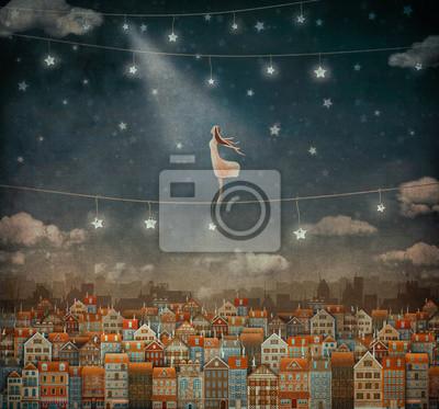 Illustration der niedlichen Häusern und hübsches Mädchen im Nachthimmel