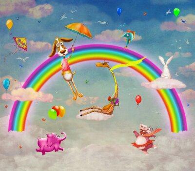 Illustration der Tiere auf Hintergrund der Regenbogen im Himmel