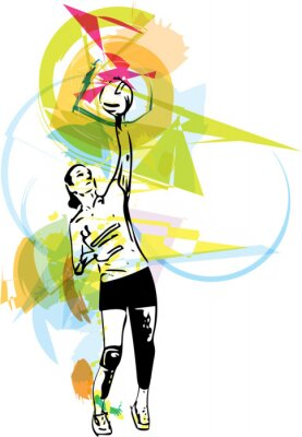 Bild Illustration der Volleyball-Spieler Spiel