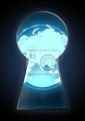 Illustration einer Kugel durch das Schlüsselloch gesehen