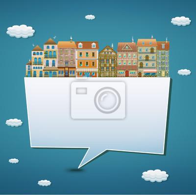 Illustration eines Banners mit Häusern