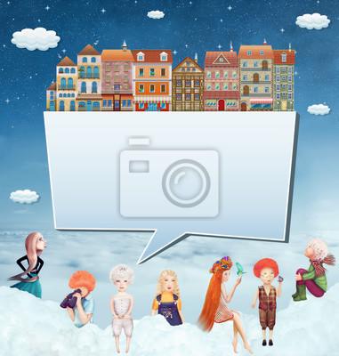 Illustration eines Banners mit Häusern, Kindern und Wolken