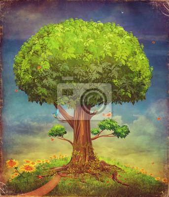 Illustration eines großen Baumes. Sommer Hintergrund