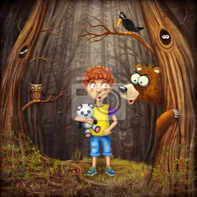 Illustration eines jungen stand im wald