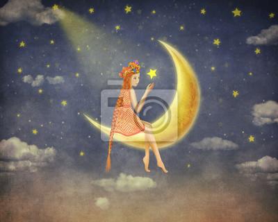 Illustration eines niedlichen Mädchens sitzt auf dem Mond im nächtlichen Himmel, Illustration Kunst