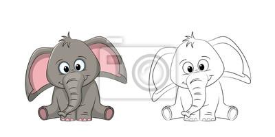 Bild: Illustration eines süßen elefanten, gemalt und kontur