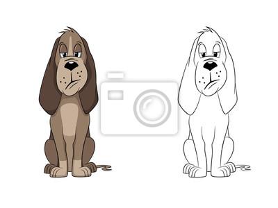 Bild: Illustration eines süßen hundes, gemalt und kontur