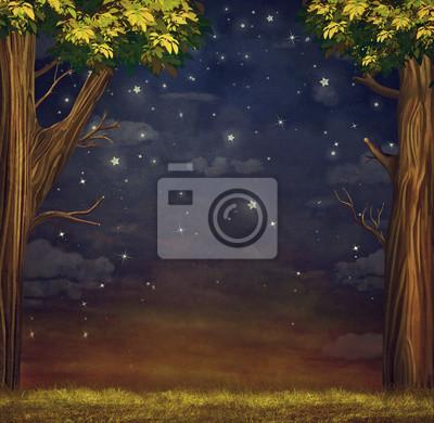 Illustration eines Waldes mit Sternen am Nachthimmel