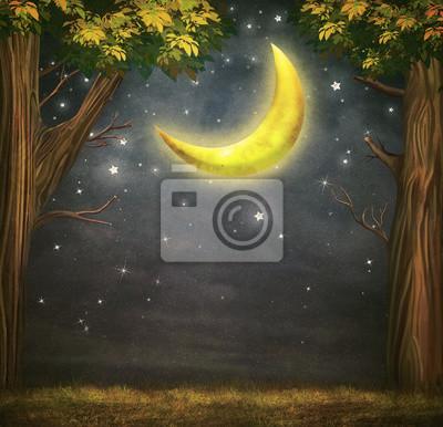 Illustration eines Waldes und fantastischen Mond mit Sternen am Nachthimmel
