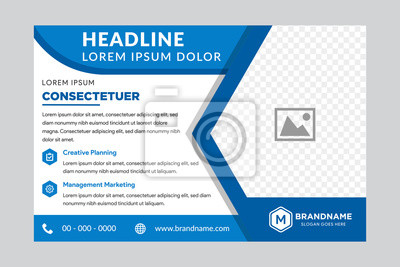 Bild Illustration for your business presentations. Brochure or flyer. horizontal layout. flat blue color. right side for place of photo.