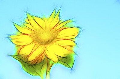 Bild Illustration gelbe Sonnenblume auf Blau