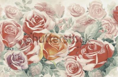 Bild Illustration gemalter Frühling blüht bunten Rosenstrauß im Garten und Gefühl in der realistischen Weinlese mit abstraktem blauem Hintergrund, Aquarelllandschaftsursprüngliche Malerei, für Grußkarten.