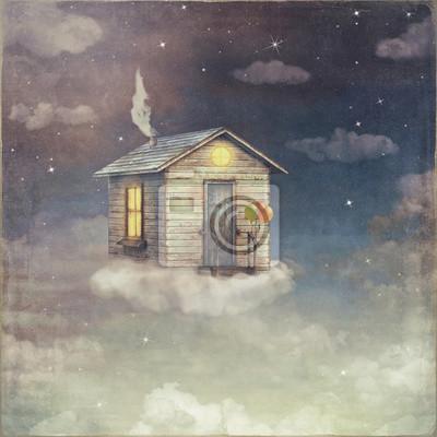 Illustration Kunst einer Karikatur kleines Haus auf einer Wolke in der Nacht dunklen Himmel