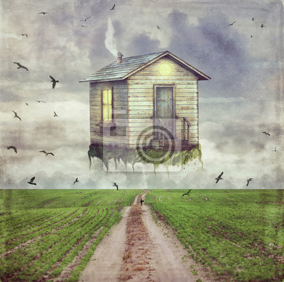 Illustration Kunst einer Karikatur kleines Haus im Himmel über der Lichtung