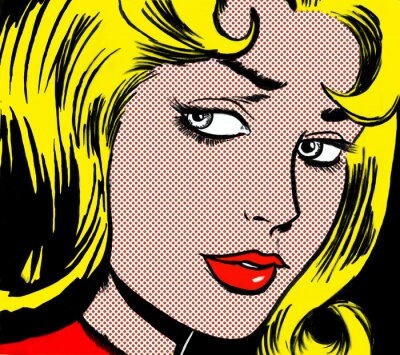 Bild illustration of a girl face in the style of 60s comic books, pop art