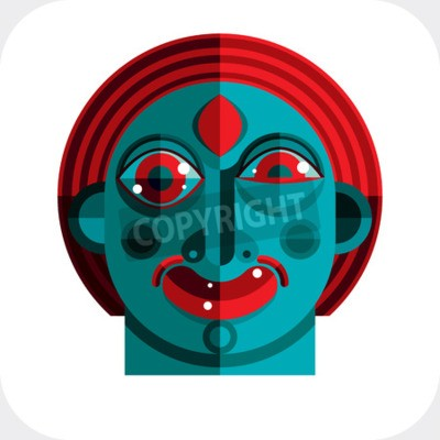 Bild illustration of bizarre modernistic avatar, cubism theme picture. Expression on a person's face.