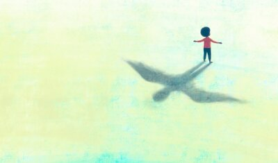 Bild Illustration of Freedom hope dream happiness and life concept, African black boy with flying shadow, surreal painting artwork, conceptual art, child