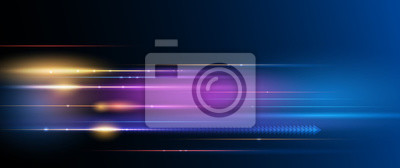 Bild Illustration of light ray, stripe line with blue light, speed motion background. Vector design abstract, science, futuristic, energy, modern digital technology concept for wallpaper, banner background