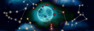 Bild Illustration of night sky with creepy full blue moon beyond mysterious horoscope shape