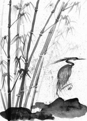 Bild illustration of watercolor heron and bamboo