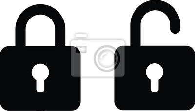 Bild illustration vector icon of close and open lock
