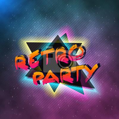 Illustration Von 1980 Neon Poster Retro Disco 80s Hintergrund