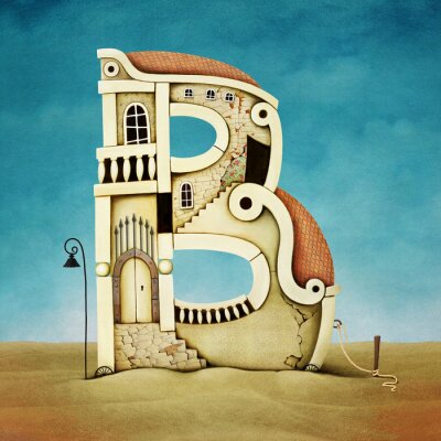 Bild Illustration von Buchstaben in Form von Gebäuden