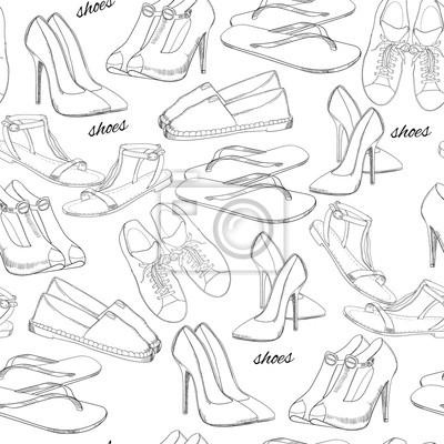 Illustration Von Hand Gezeichnet Nahtlose Muster Frauen Schuhe