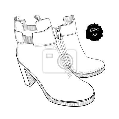 Illustration Von Hand Gezeichneten Grafik Frauen Schuhe Schuhe