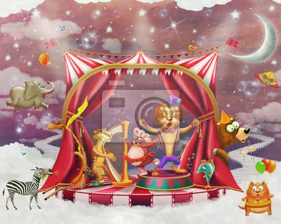Illustration von niedlichen Zirkus Tiere auf der Bühne in Himmel - Illustration Kunst
