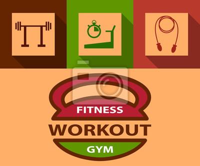 Bild Illustration von Sport-und Fitness-Flach Symbol Emblem