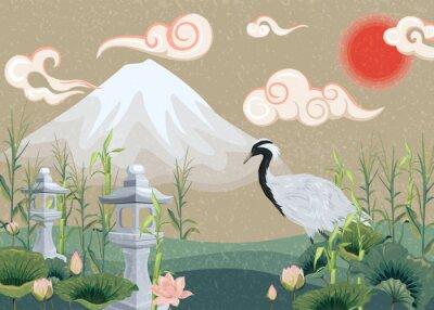 Bild illustration with mountain, crane, lotuses and lanterns