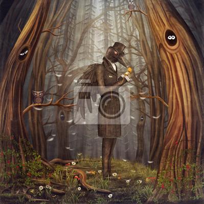 Illustration zeigen Rabe im Wald.