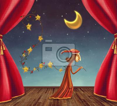 Illustration zeigt den Jungen auf der Bühne geht mit Sternen