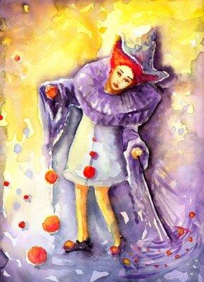 Bild Illustration zeigt einen Clown hängen Kugeln