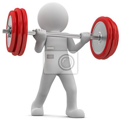 Im fitnessstudio beim training, trainiert gewichtheben ...