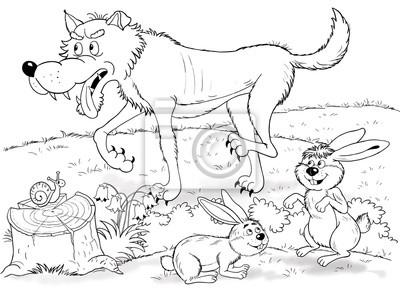 Bild Im Zoo Nette Waldtiere Illustration Für Kinder Malbuch Malvorlage