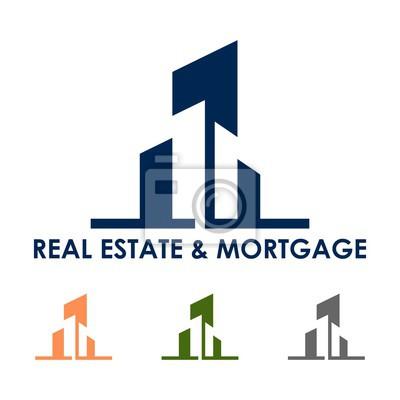 Immobilien und hypothek design logo vektor isoliert leinwandbilder ...