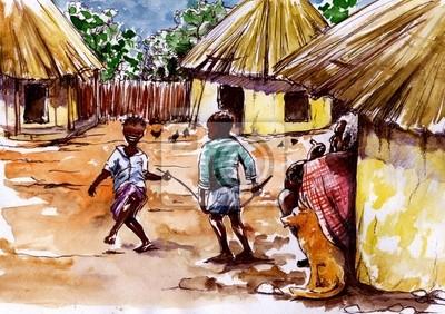 In afrikanischen Dorf