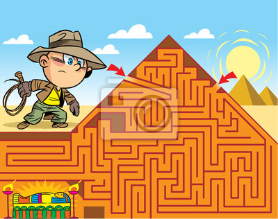 Bild In the vector illustration, a maze puzzle where the boy needs to get to the tomb of the pharaoh
